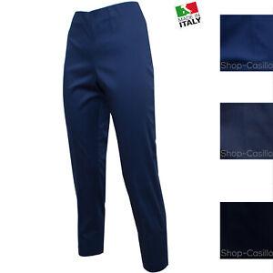 Pantalone Donna Cotone Estivo Vita Alta Zip Lato 44 46 48 50 52 54 Curvy Jeans