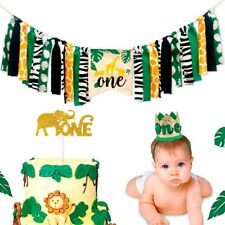 3PC Set Jungle Animal Banner Cake Topper Hat Kid Birthday Party Decor Supplies