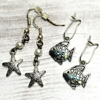 New Ocean Seaside Cute Star Fish Silver Tone Pearl Gem Dangle Earrings 2 Pairs