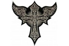"""(L48) Large CROSS WITH WINGS 11"""" x 10.75"""" iron on back patch (4462) Biker vest"""