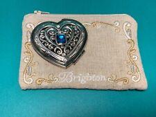 "BRIGHTON ABC Silver Crystal Heart ""Blue Azure"" Compact Mirror"
