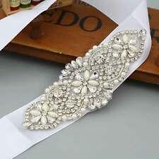 Pearl Crystal Bridal Belt Diamante Beaded Rhinestone Dress Sash Wedding Party UK