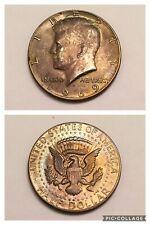 1969 D US Kennedy Half Dollar, 40% Silver Lot, Beautiful AU Rare Gold Toned Coin