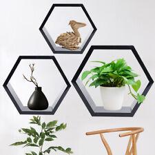 Set of 3 Hexagonal Floating Shelves Wall Shelf Home Decor Storage Modern Black