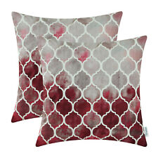 """2Pcs Grey Red Burgundy Cushion Cover Bolster Pillow Shell Colorful Chains 16x16"""""""