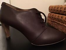 Chloe Brown Leather Lace Shoes Size 39 New