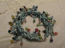 """Blue Ceramic & Multicoloured Glass Bead Bracelet - 8"""" long"""