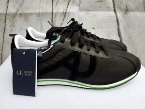 Giorgio Armani Jeans AJ Men Black Runner Shoes Trainers Leather Sneakers low top