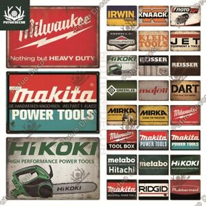 POWER TOOL Metal Sign Popular Brands Plaque Garage Man Cave Shed Wall Decor