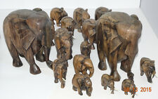 Wood carved herd of Elepants Ebony
