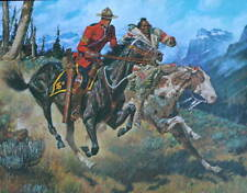 Vintage Canadian Mountie RCMP with Native on  Horses  A Friberg