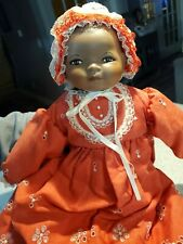 """Vintage 1983 Bisque and Cloth Black Bye-Lo Baby Doll 18"""" with tags"""