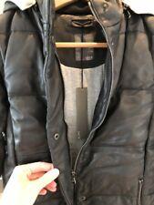 Lot 78 en cuir noir doudoune gilet capuche IT 40 S petit M Medium Nouveau Neuf avec étiquettes