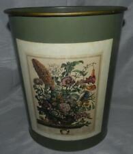 Vintage Decorative Metal Oval Wastebasket Trash Can August Flowers Furber Decal