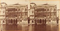 Italia Venezia Palais Ca' D'Oro, Foto Stereo Vintage Albumina Ca 1865