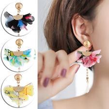 Long Drop Dangle Ear Stud Gift 1Pair Fashion Big Cloth Flower Statement Earrings