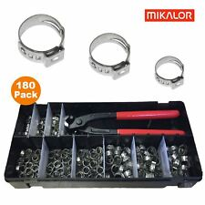 180 x Assorted Mikalor Single Ear Plus & Pincers / Stainless Steel Hose Clips