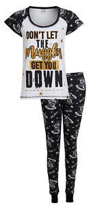 Womens Harry Potter Pyjamas Ladies Muggles Hogwarts PJs T-Shirt + Lounge Pants