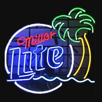 New Miller Lite Palm Tree Logo Beer Bar Real Glass Neon Sign FAST FREE SHIPPING