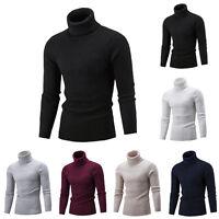 Men Slim Warm Knit Sweater High Neck Jumper Top Turtleneck Solid Winter Pullover