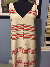 Joie Modele Dress Cream With Print Sleeveless Beige Dress Small RN#105230