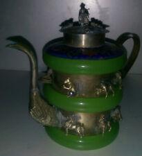 China Tibet handmade silver jade teapot worth collecting