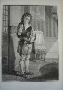 BELLE GRAVURE XVIII° PORTRAIT HOMME ENFANT TRAVAIL VIEUX METIER MODE LOUIS XVI B