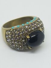Heidi Daus Crystal Black Glass Cabochon Ring Size 10