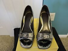 Womens Circa Joan & David  Pewter Leather Open Toe Heels Shoes Size 6 M GUC