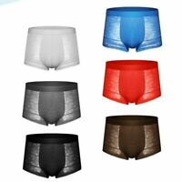 Men Briefs Boxer Shorts Hollow Lace Underwear Panties Stretch Comfy Trunks Thin