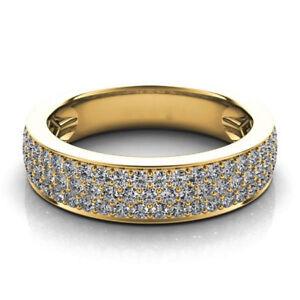 1.21ct Natural Round Diamond 14K Solid Yellow Gold Anniversary Wedding Band Ring