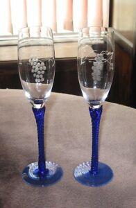 Champagne flutes Lot of 2 Etched Grapes blue twist stem 6 oz FREE SHIP!