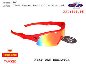 RayZor Red Sports Wrap Sunglasses Uv400 Vented red Mirrored Lens (220)