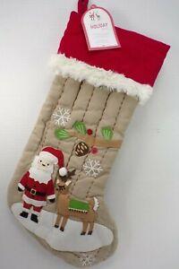 "Pottery Barn Kids Santa & Reindeer Woodland Embroidered Stocking 19"" #8971"