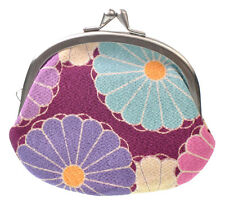 NEW Ladies Japanese Style Gamaguchi Coin Purse Purple Made in Japan