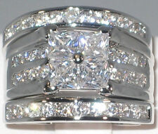 Contemporary 2.36 Ct. Cubic Zirconia Platinum EP Bridal Wedding Ring Set- SIZE 7