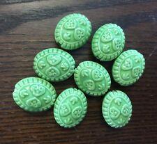 Vintage Vibrant Green Stoneware Glazed Ceramic Etruscan 2 Side Big Oval Bead Lot