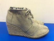 TOMS Desert Wedge Natural Burlap Booties Espadrille Tan Shoes Size US 7