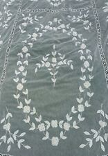 ANTIQUE FLORAL APPLIQUÉ LACE BEDSPREAD CURTAIN WITH FINE STITCHING