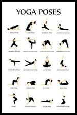 Yoga Poses Reference Chart Studio Black White Mural Inch Poster 36x54 inch