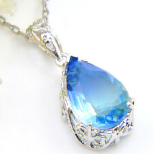 Drop Special Blue Fire Watermelon Tourmaline 925 Silver Pendants Chain Necklaces