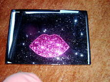 LULU GUINNESS GLITTER PINK LIPS CLUTCH WITH WRISTLET -  NEW & BOXED