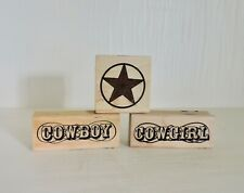 Stampabilities LOT of 3 Wood Block Cowboy Cowgirl Star Western Rubber Stamps