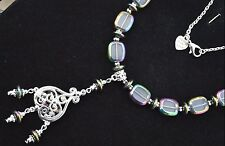 "Handmade Necklace 23"" long Chain, Silver Plated, Colorized Glass Beads Rainbow"