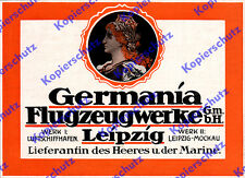 Orig. Advertising Germania plane works Leipzig-mockau Airship Port lefag 1917