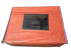 Hotel Collection King Sheet Set~Orange~Microfiber~Easy Care~NEW