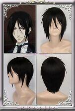 Anime Kuroshitsuji Black Butler Sebastian Michaelis Short Black Hair Wig S013