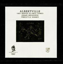 Guyana 1992 Albertville Winter Olympics Michel BL 224var Imperf  Sheet Gold OVPT
