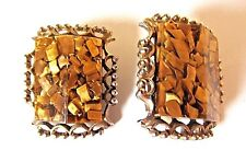 Vintage Gold Tone Confetti Lucite Angled Filigree Gold Tone Clip On Earrings