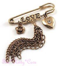 Vintage Gold Safety Pin Crystal Brooch Flower Heart Locket Charms Tassels Kilt,